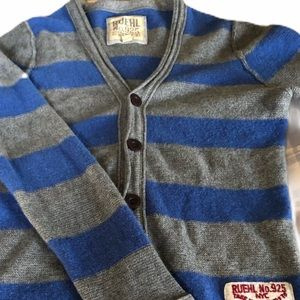 RUEHL NO 925 Blue & gray striped cardigan sweater